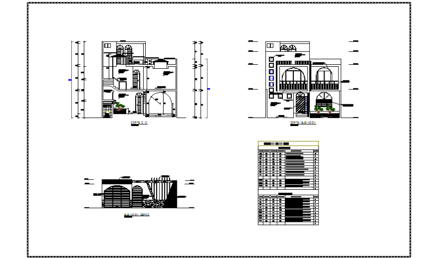 Elevation design drawing of Single family house design drawing