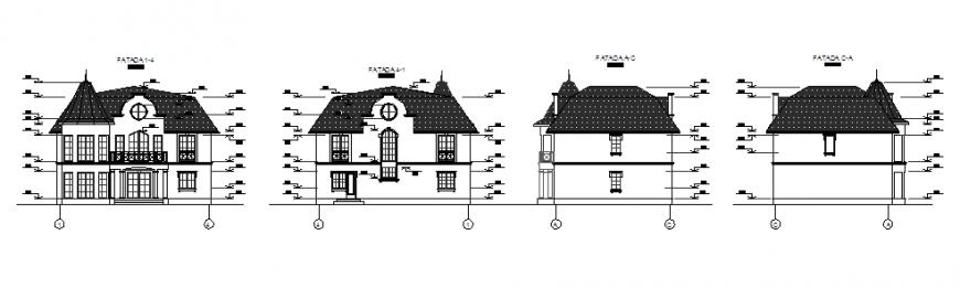 Elevation design of 2 storey house design drawing