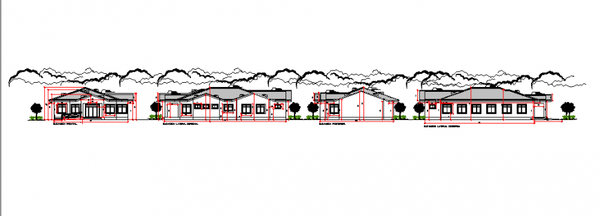 Elevation design of Architectural project of communal house design drawing