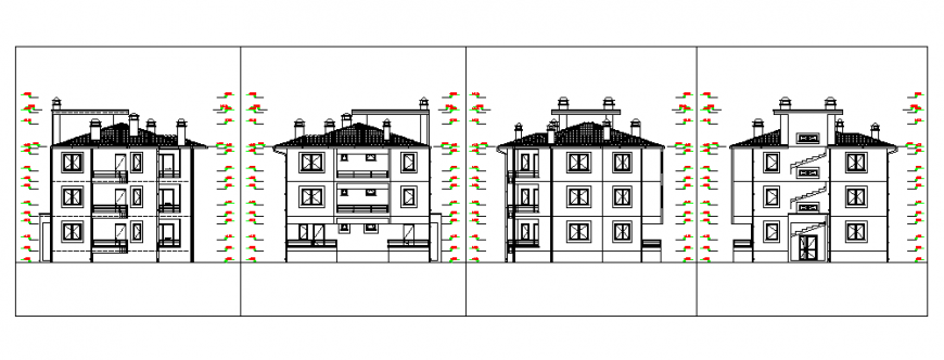 Elevation design of Architectural proposed house design drawing