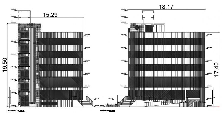 elevation design of hostel project detail cad file