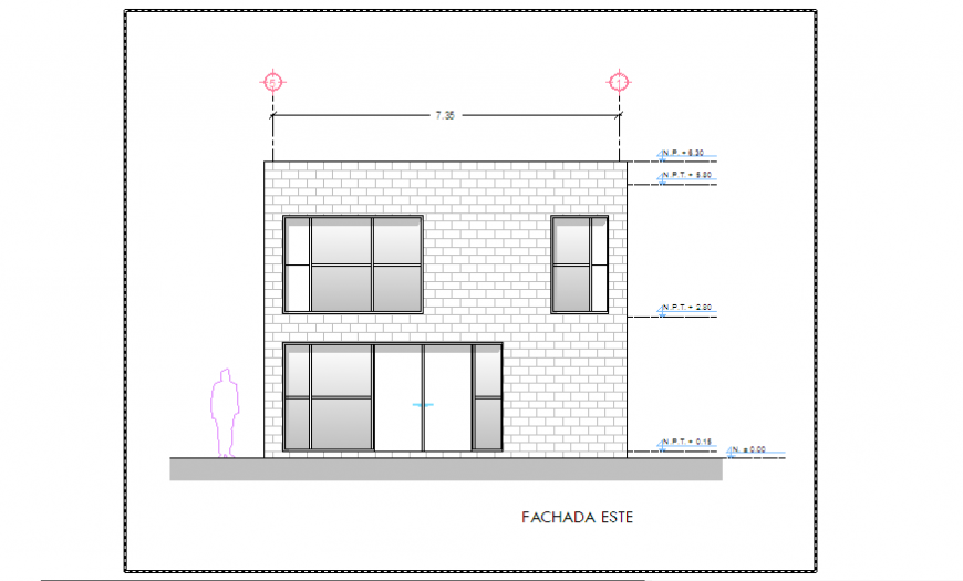Elevation design of House design drawing in Ireland.