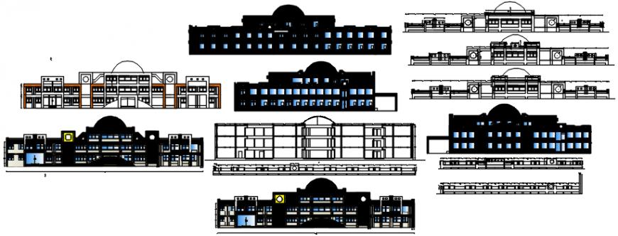 Elevation design of school project autocad file