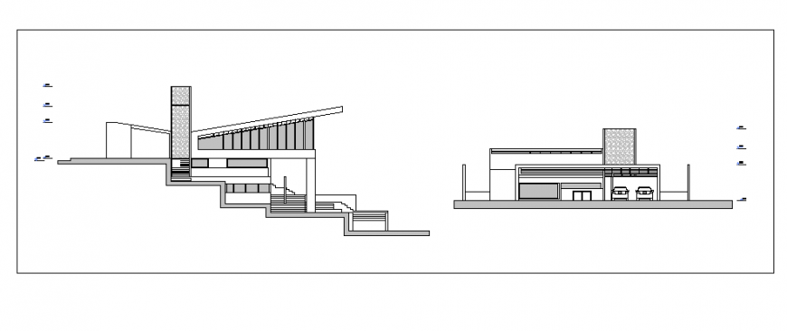 Elevation design of single family home design drawing