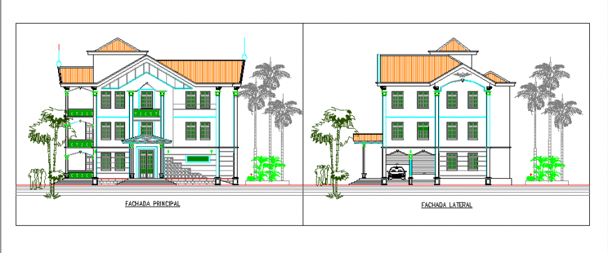 Elevation Design of Single family home residence design drawing