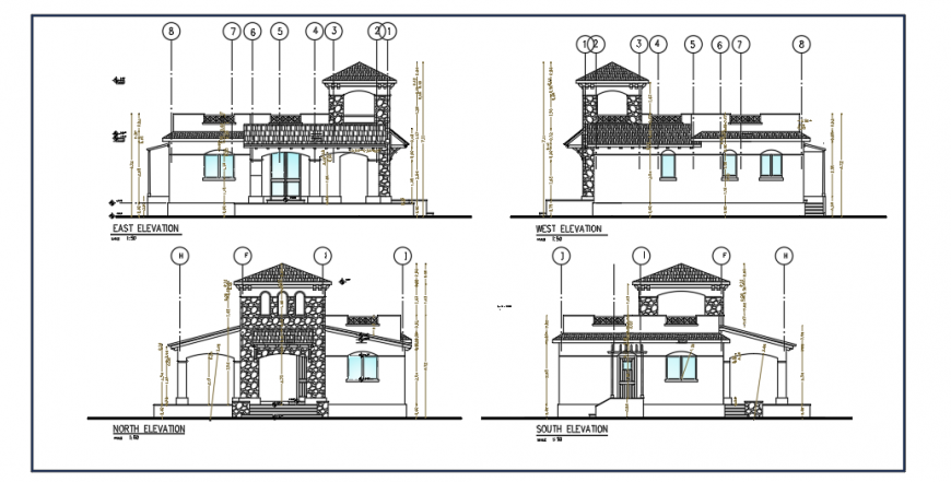 Elevation design of small villa design drawing