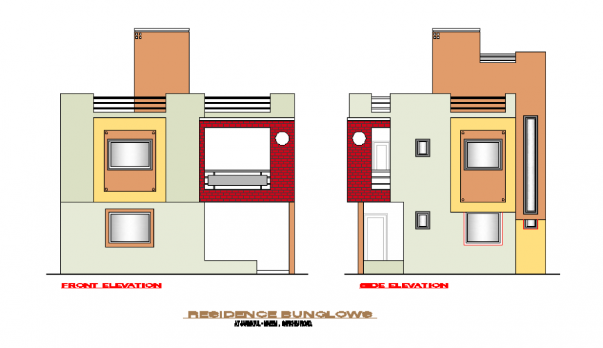 Elevation detail drawing of house in dwg file.