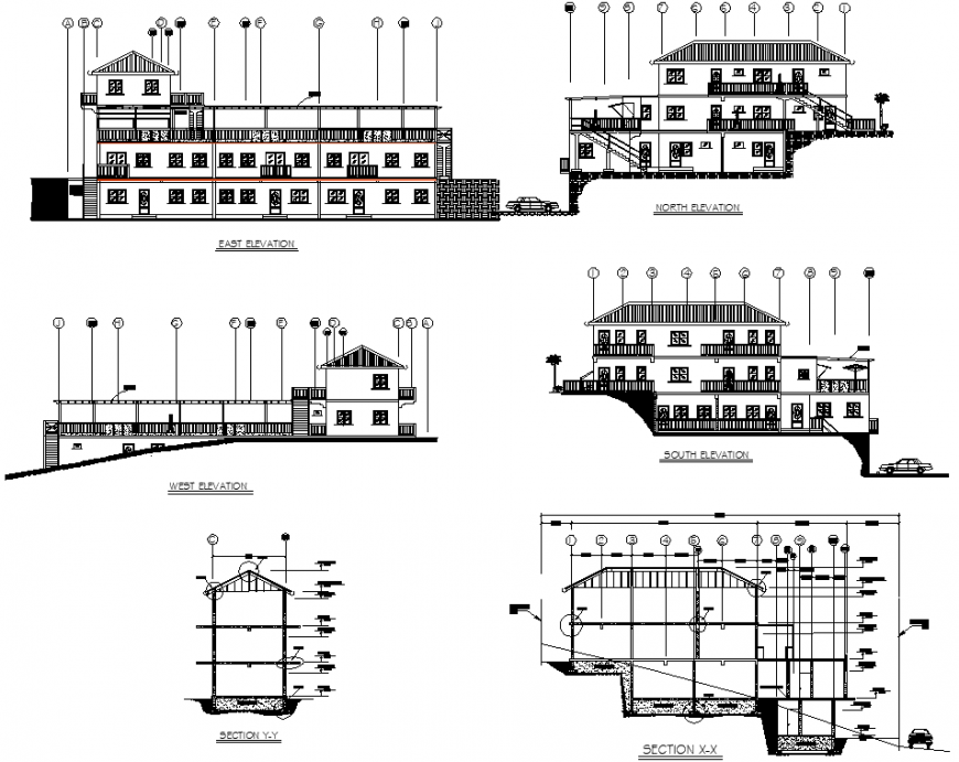 Elevation detail drawing of three storey bungalow in dwg AutoCAD file.