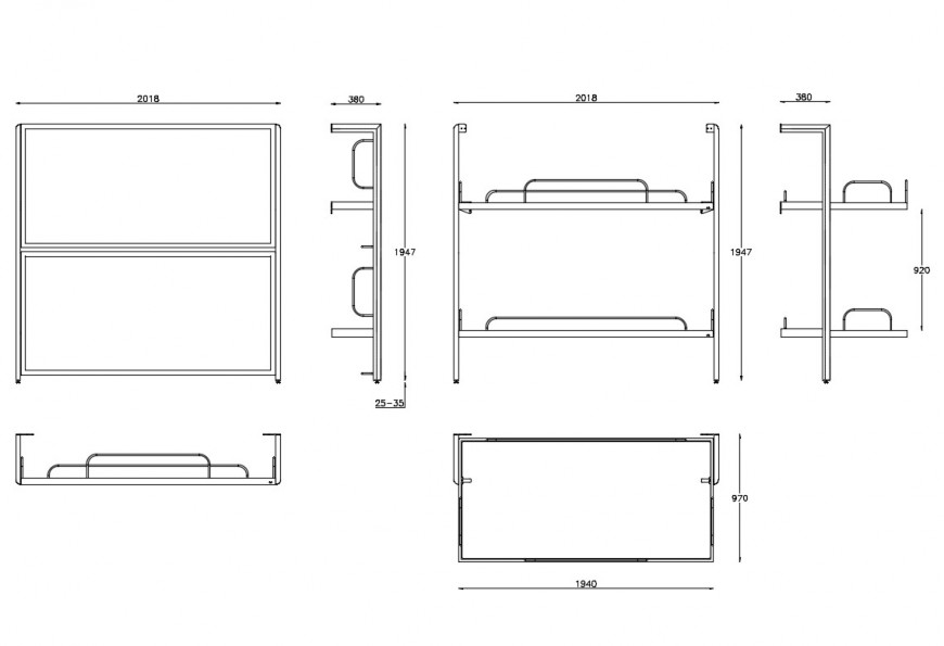 Elevation detail of bed detail layout CAD furniture block autocad file