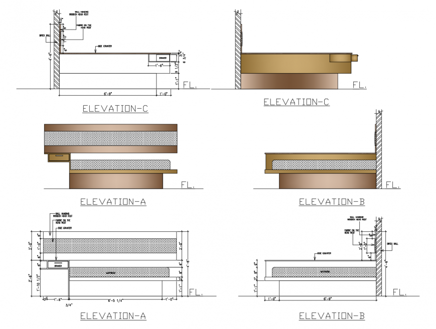 Elevation detail of double bed 2d view furniture units drawing dwg file