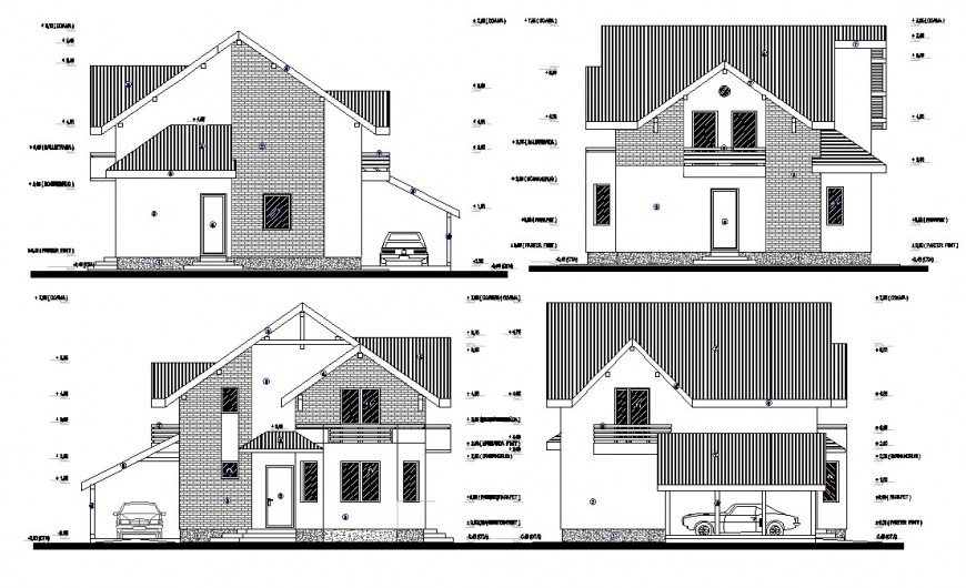 Elevation detail of house 2d view CAD block layout file in autocad format