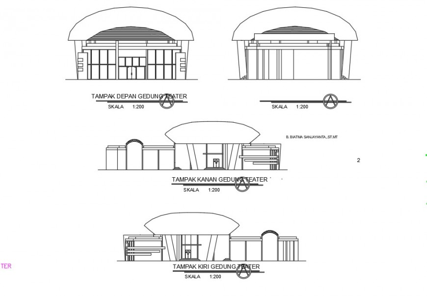 Elevation detail of multiplex theater building 2d view layout file in autocad format