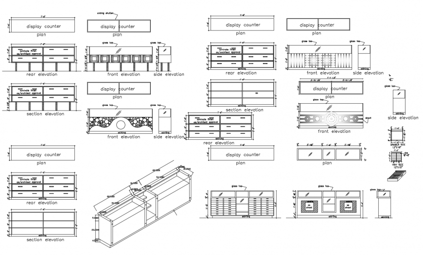Elevation detail of table and racks blocks 2d view furniture block dwg file