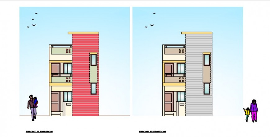 Elevation detailing of apartment 2d view CAD drawings dwg file