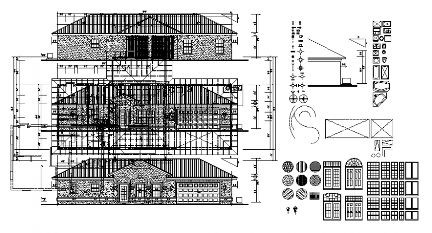 Elevation drawings details of house blocks 2d view dwg autocad file