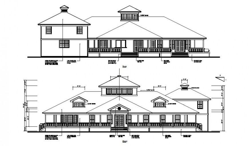 Elevation drawings details of residential housing units autocad file