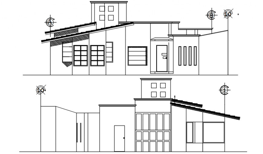 Elevation drawings details of single story house 2d view dwg file