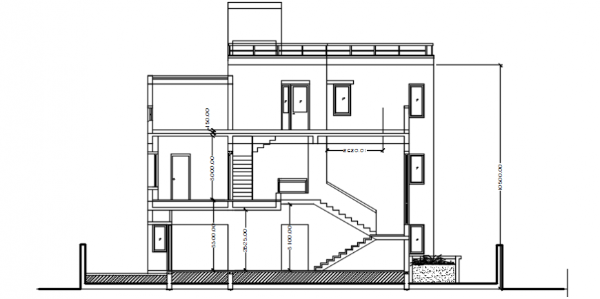 Elevation drawings of house 2d view apartment dwg autocad file