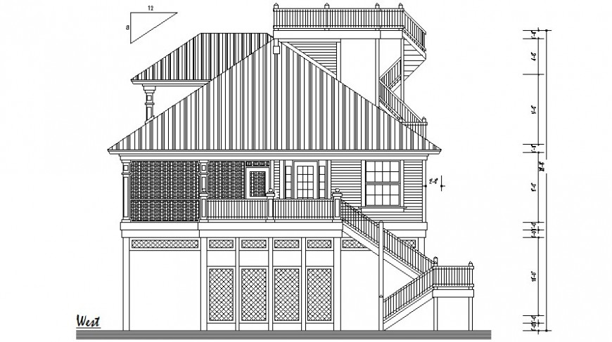 Elevation drawings of residential bungalow autocad software file