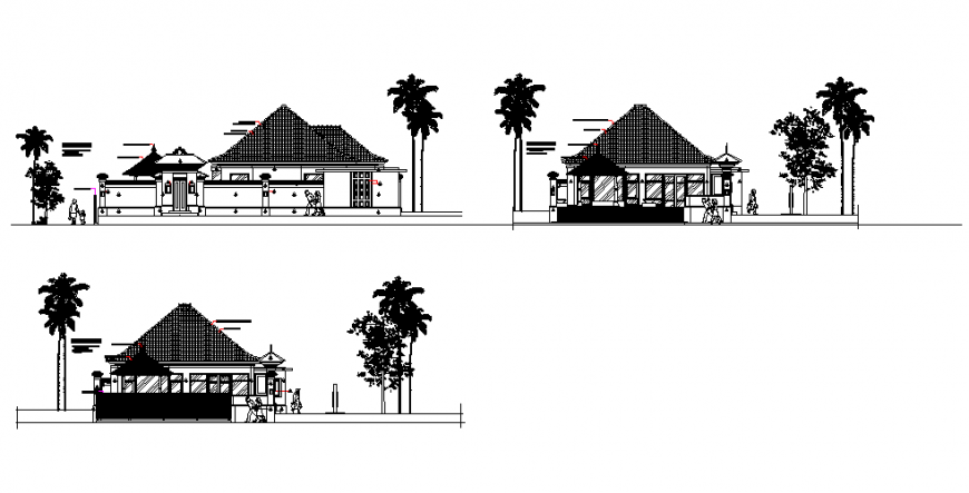 Elevation guest house plan detail dwg file