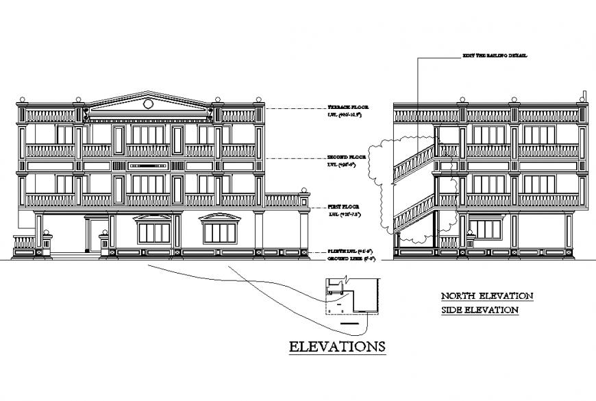 Elevation history plan autocad file