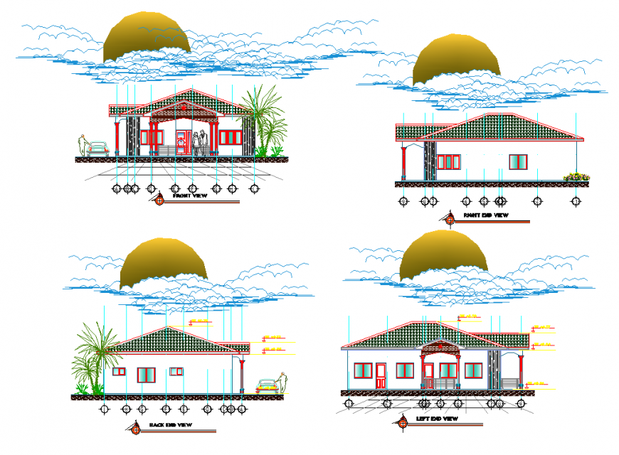 Elevation housing plan detail dwg file
