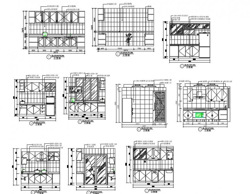 Elevation kitchen plan layout file