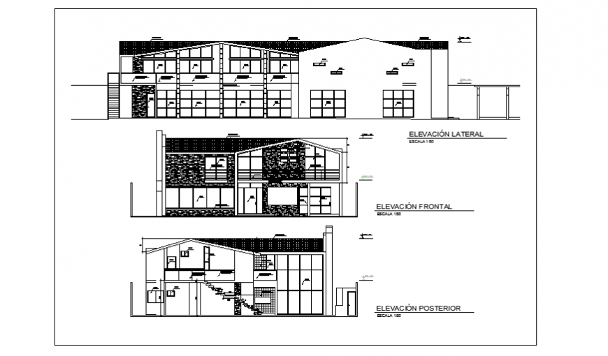 Elevation layout of modern house project design drawing