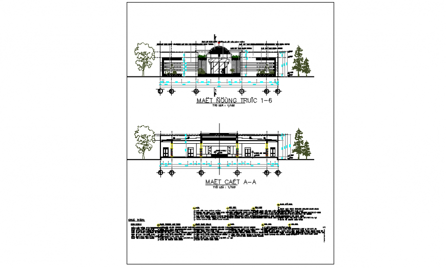 Elevation Layout plan of community center design drawing
