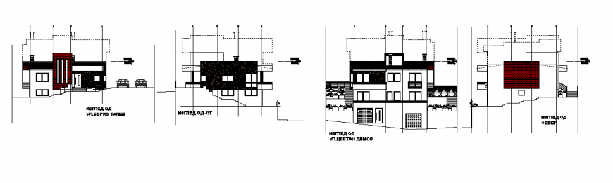 Elevation layout plan of Single house design drawing