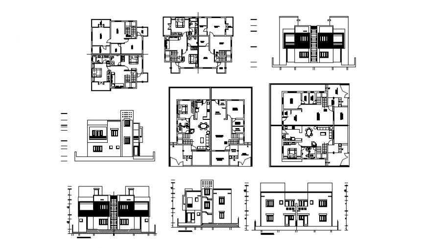 Elevation living place detail dwg file