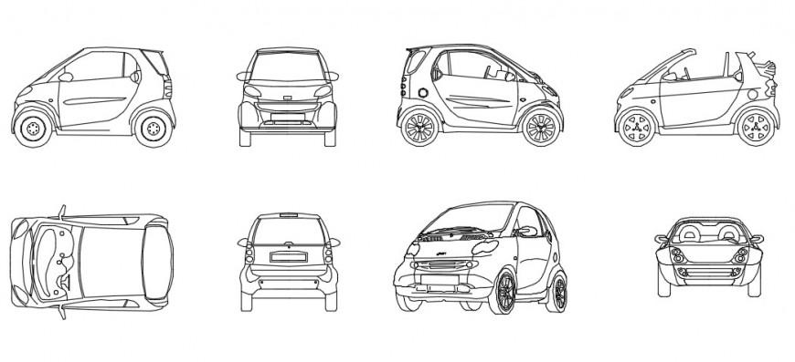 Elevation model of car details dwg file
