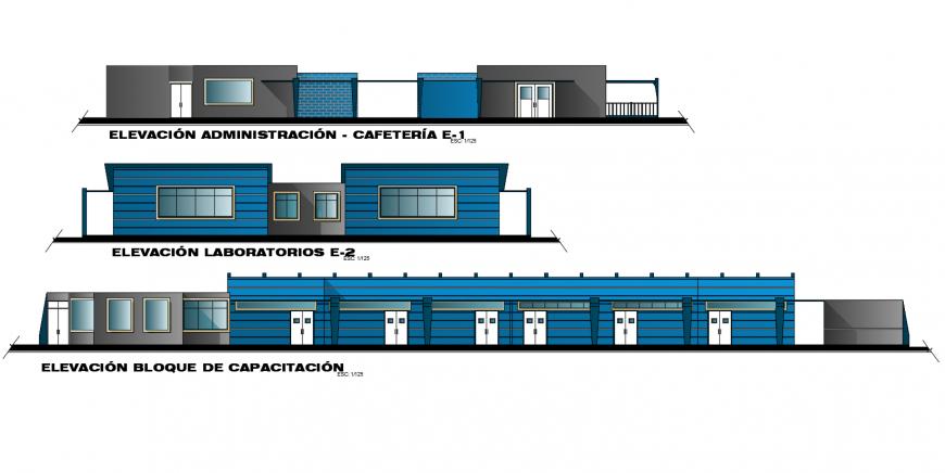 Elevation Multiplex training center dwg file