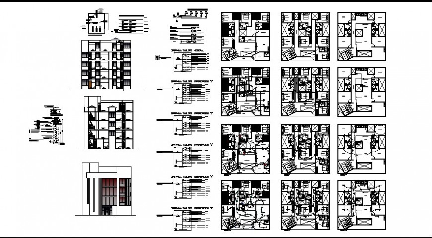 elevation of a apartment dwg file