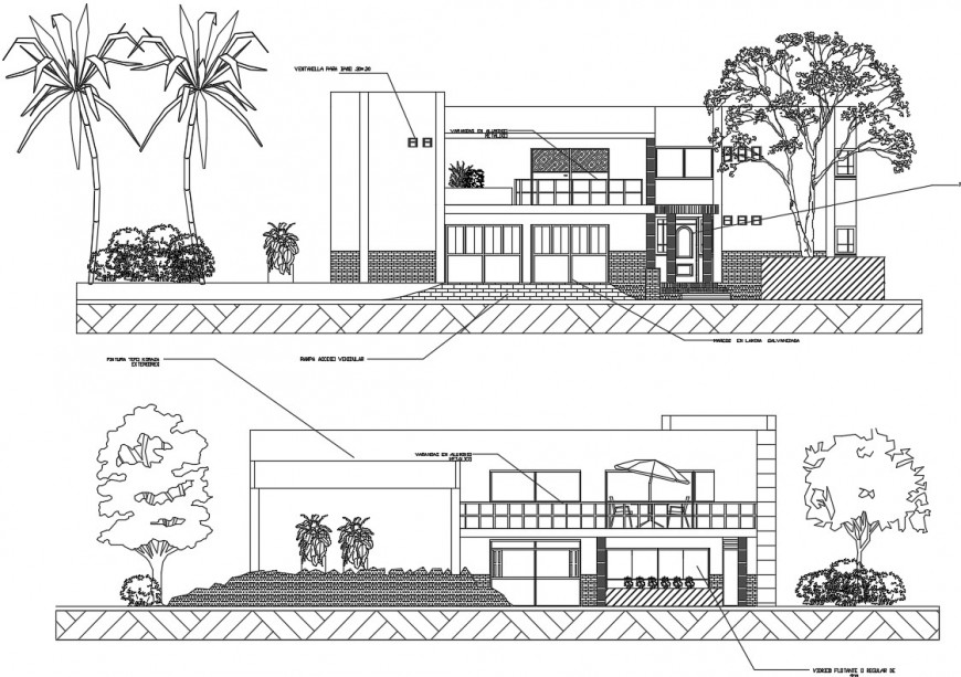 Elevation of a beach house bungalow and its interior details