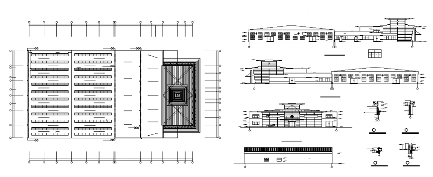 Elevation of a building and construction detail dwg file