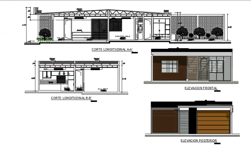 Elevation of a bungalow, sectional details dwg file