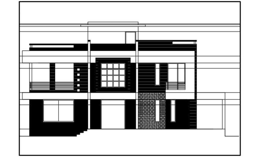elevation of a bungalow  2d dwg file model