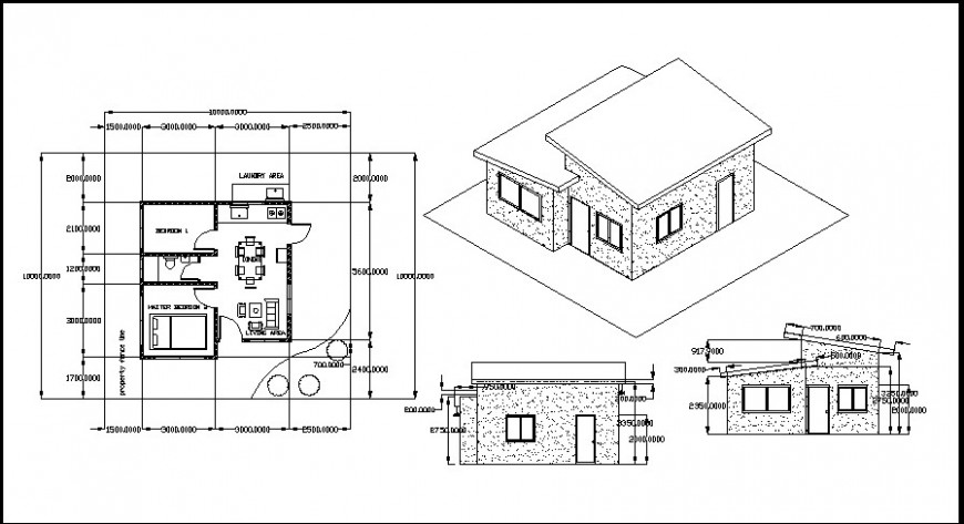 elevation of a bungalow and plan