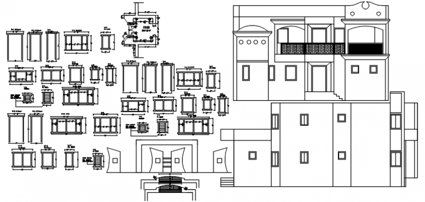 Elevation of a bungalow with sections of furniture