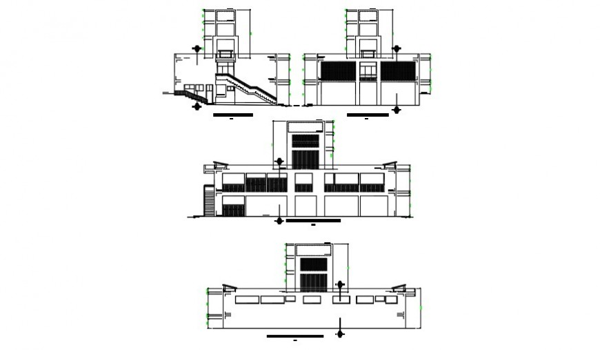 Elevation of a high rise building detailing dwg file