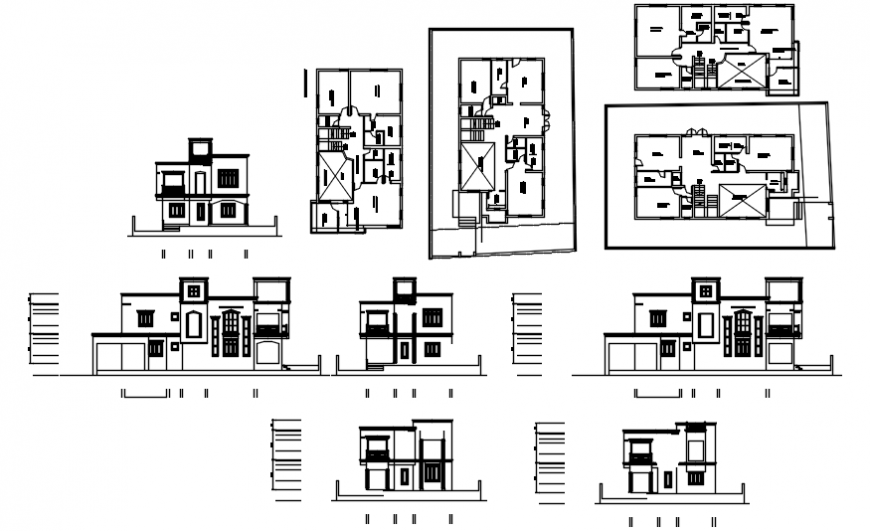 Elevation of a modern bungalow and layout plan