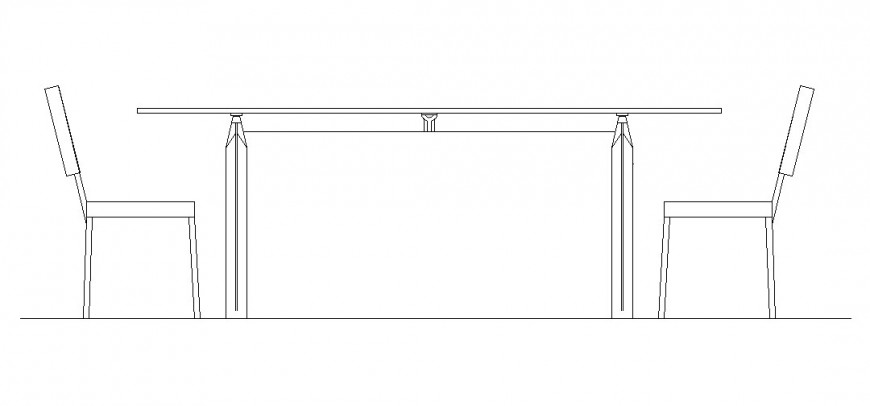 elevation of a rectangular table and 2 chairs.