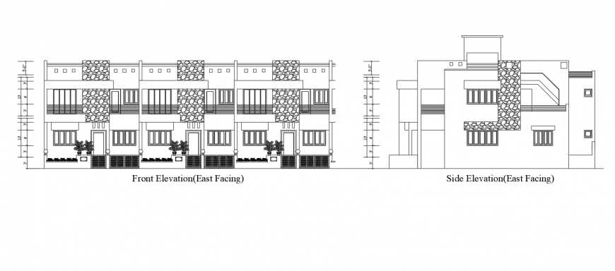 Elevation of apartment building blocks 2d view autocad file