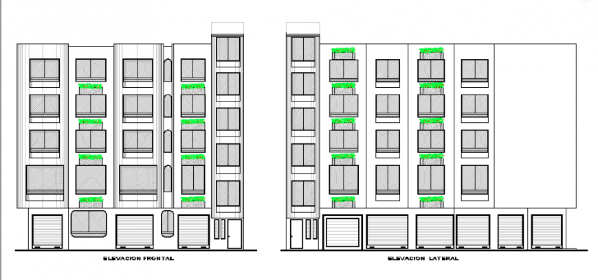 Elevation of Architectural based lodging house design drawing