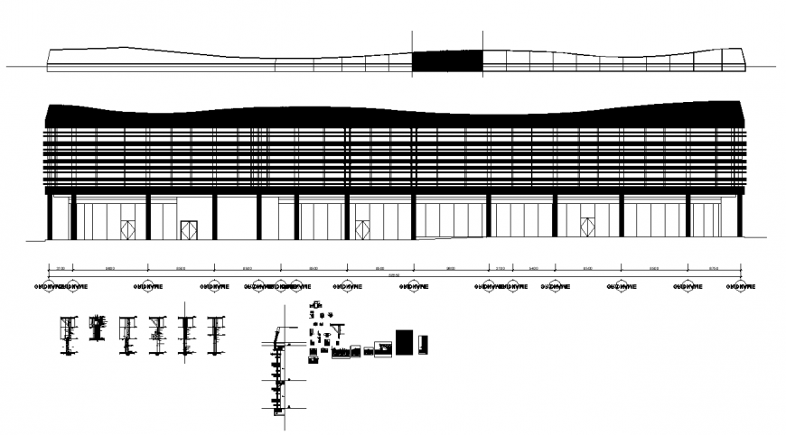 Elevation of commerce complex building detail and other structure layout dwg file