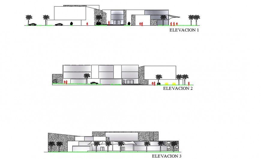Elevation of commerce office building detail 2d view CAD unit autocad file