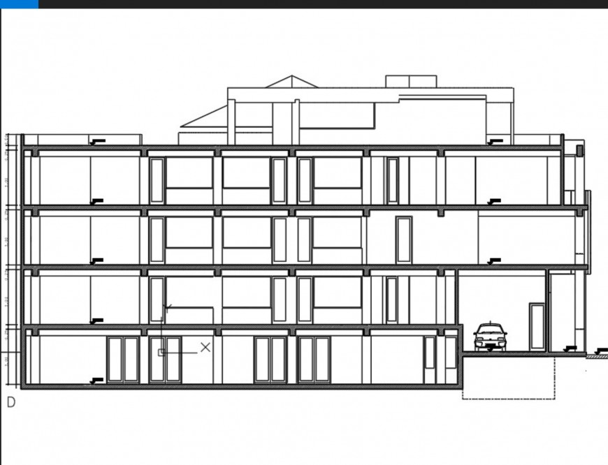 Elevation of commercial building plan autocad file