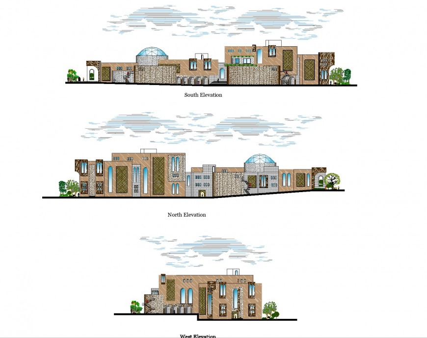 Elevation of commercial business hub detail dwg file