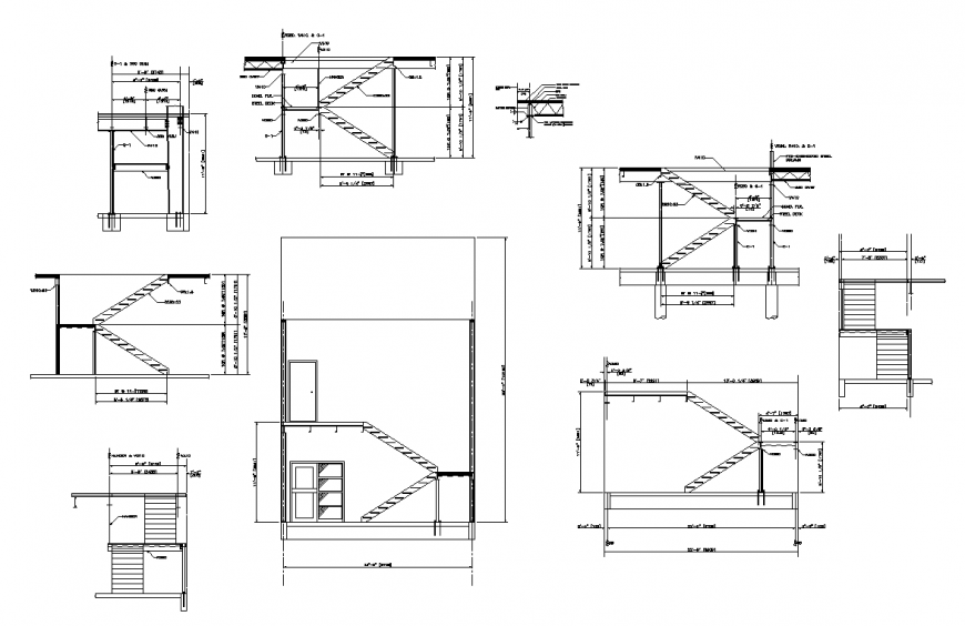 Elevation of different portion of residential area with architectural detail dwg file